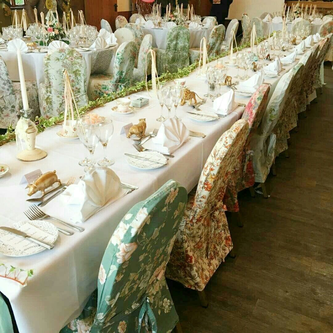 Photos Of Our Vintage Floral Wedding Chair Covers In Action At A Vintage Wedding In Hall Farm Hotel And Resta Chair Covers Wedding Wedding Chairs Floral Chair