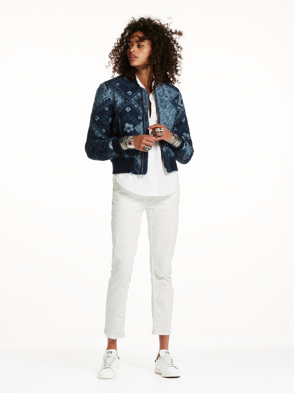 Gillian To Go With Cowgirl Boots Indigo Bandana Bomber Jacket Coats Jackets Women Fashion Clothes Women Clothes For Women [ 1500 x 1125 Pixel ]