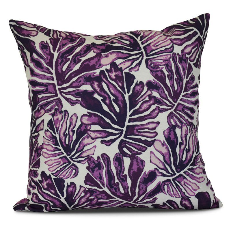 E by Design Palm Leaves Outdoor Throw Pillow Purple - O5PF812PU3-18