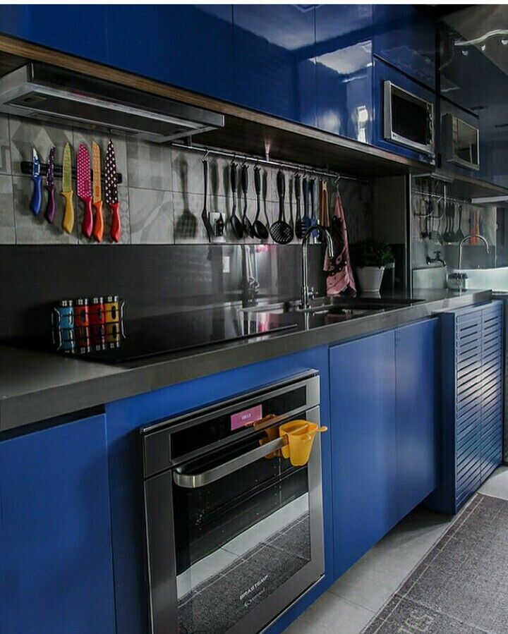 Cozi ha com armarios na cor azul