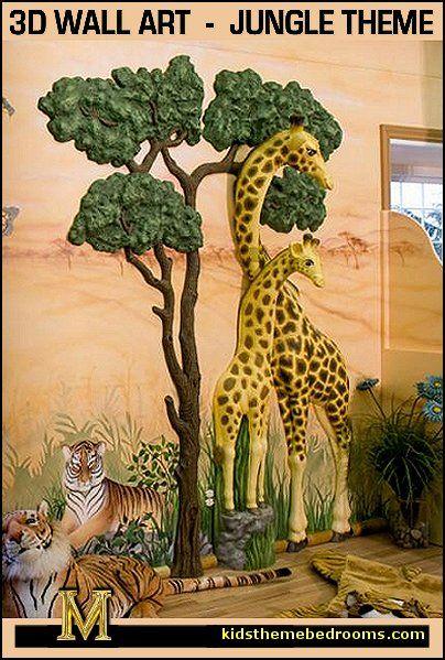 Giraffe 3d Wall Art Animal Mural Jungle Bedroom Theme Jungle Mural