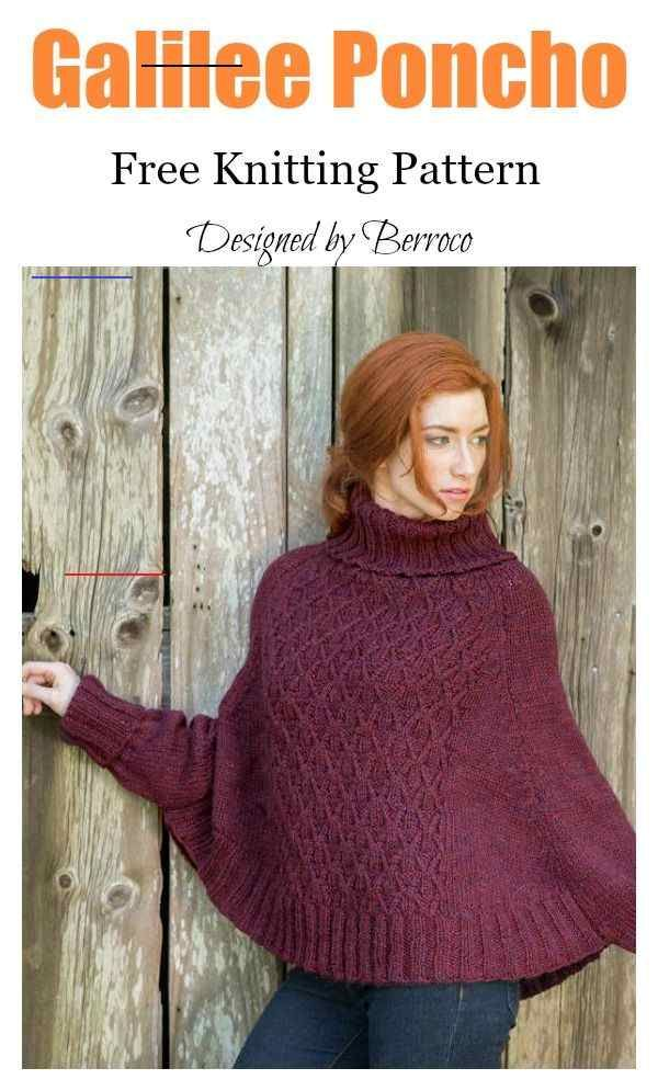 Lovely Sleeved Poncho Free Knitting Pattern - # ...