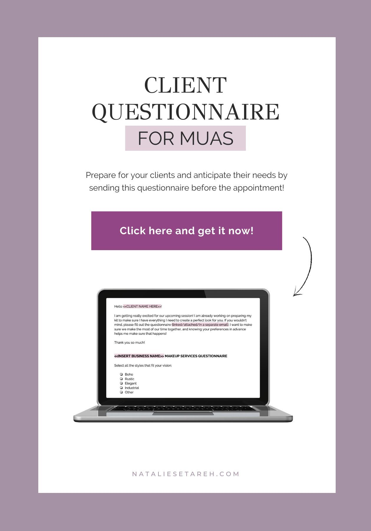 Client Questionnaire Freelance Makeup Artist Templates Freelance Makeup Artist Makeup Artist Tips Client Questionnaire