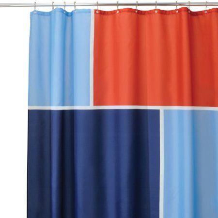 Amazon Com Interdesign Color Block Shower Curtain Blue Red 72