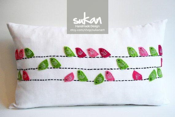Sukan / Birds Pillows - Designer Pillow - Accent Pillows - Children Decor Pillow - Cushion Covers - 12x20 inch - Pinks, Green Birds