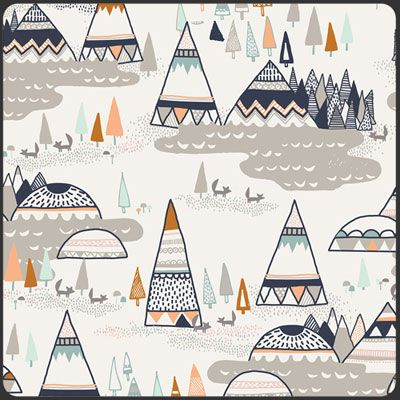 Woodland Fabric Indian Summer Oak Gray Nursery