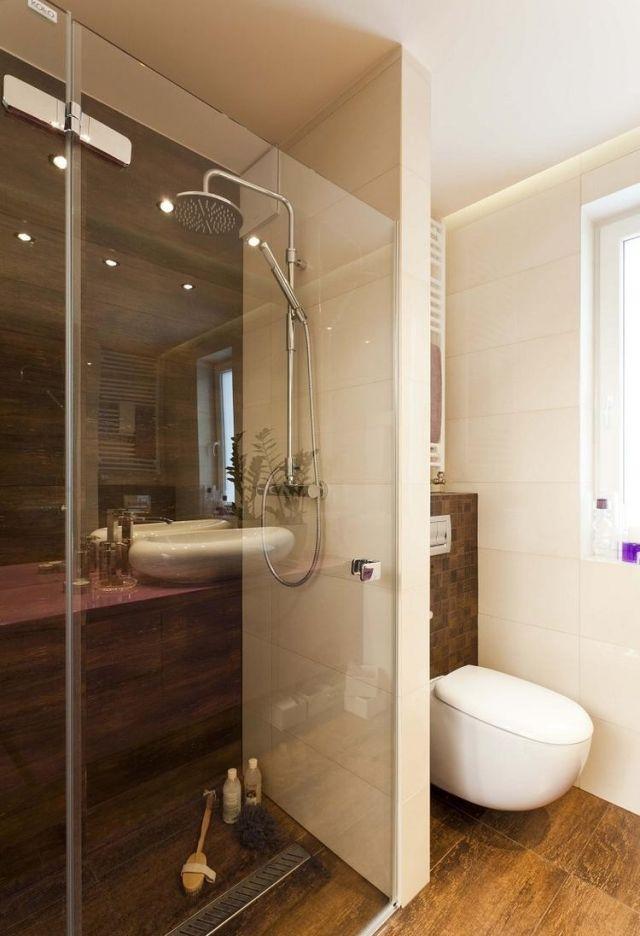 bad-walk-in-dusche-boden-wand-fliesen-holzoptik Badezimmer Ideen