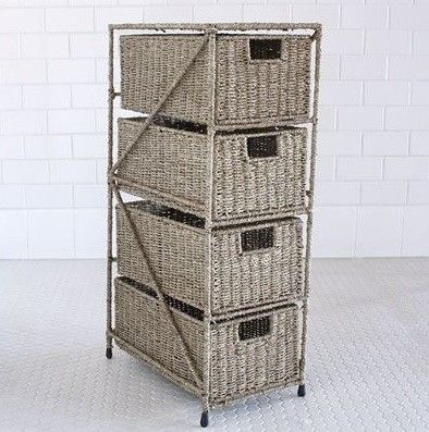 Sasha Seagrass 4-Drawer Tower eclectic clothes and shoes organizers & Sasha Seagrass 4-Drawer Tower eclectic clothes and shoes organizers ...