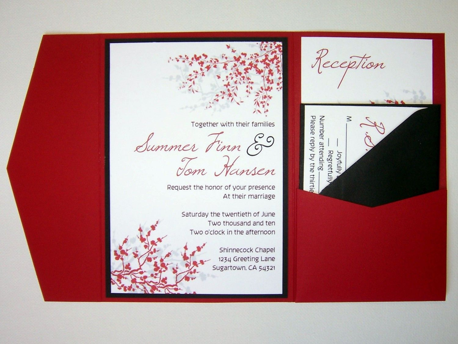 Wedding Invitation DIY Pocketfold Cherry Blossom Sakura
