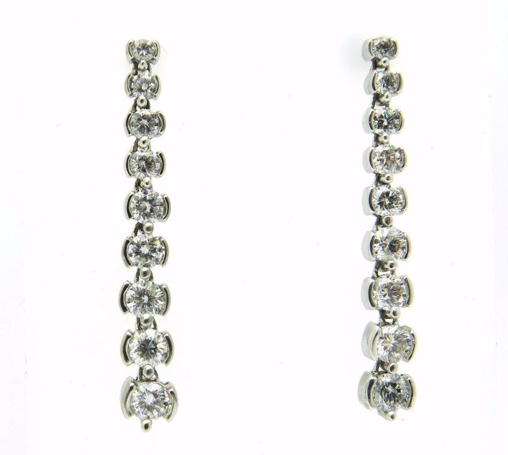 High End 1 5ct Diamond Drop Dangle Earrings 14ct White Gold Uk Hallmark