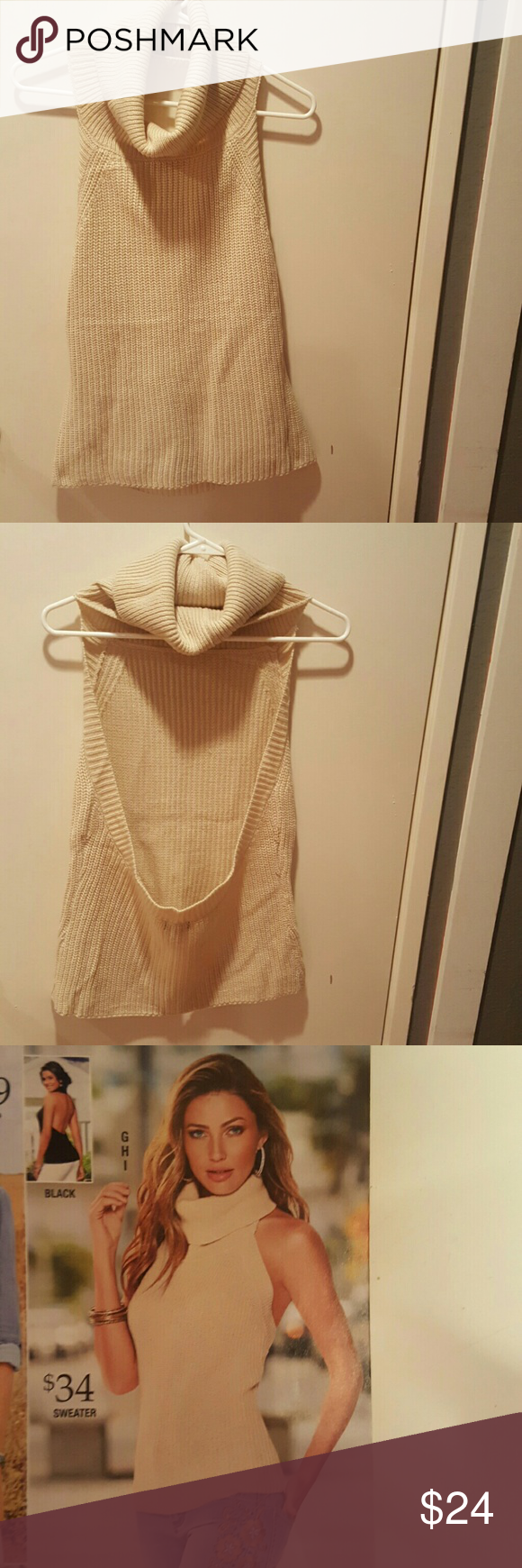 Beautiful Backless Cream Colored Cowl Neck Sweater This sweater is ...