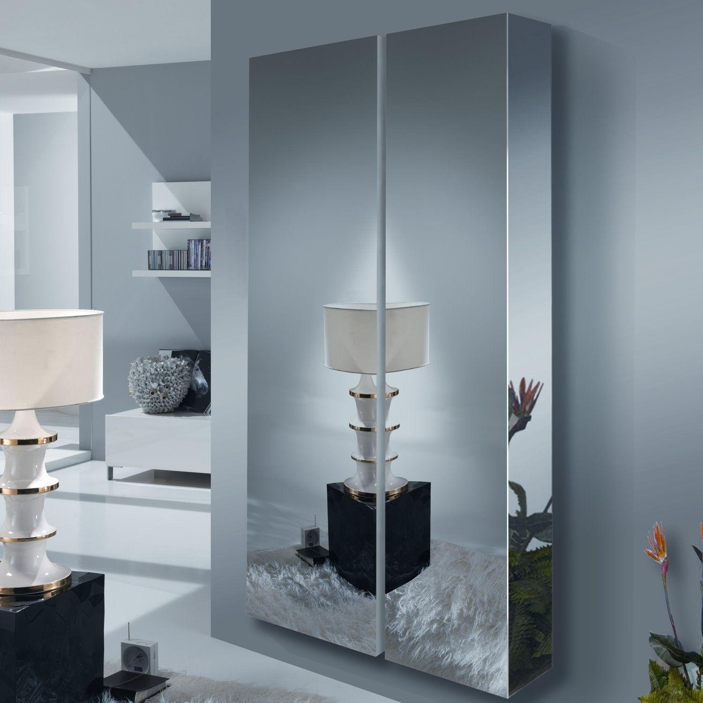 meuble dentre suspendu avec porte miroir wayne arredaclick