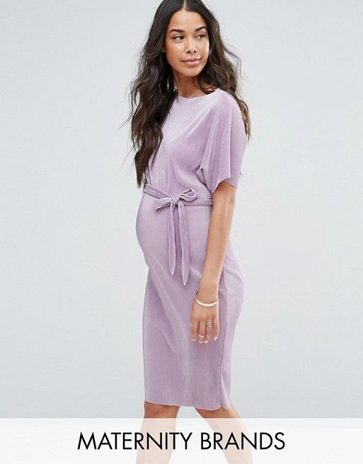 35584321b38 New Look Maternity Belted Plisse Midi Dress - Purple