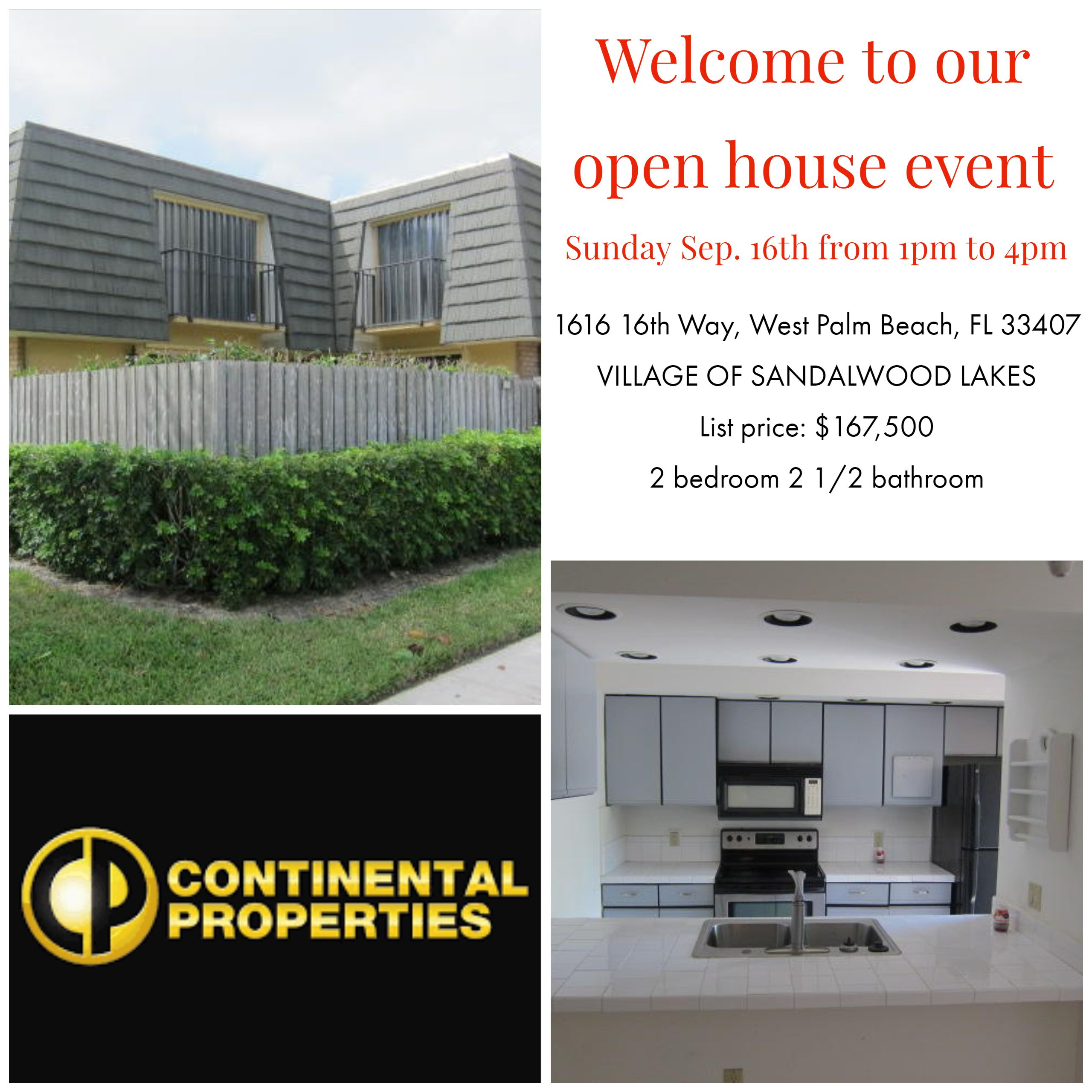 Open House Invitation Courtesy Of Continental Properties Inc