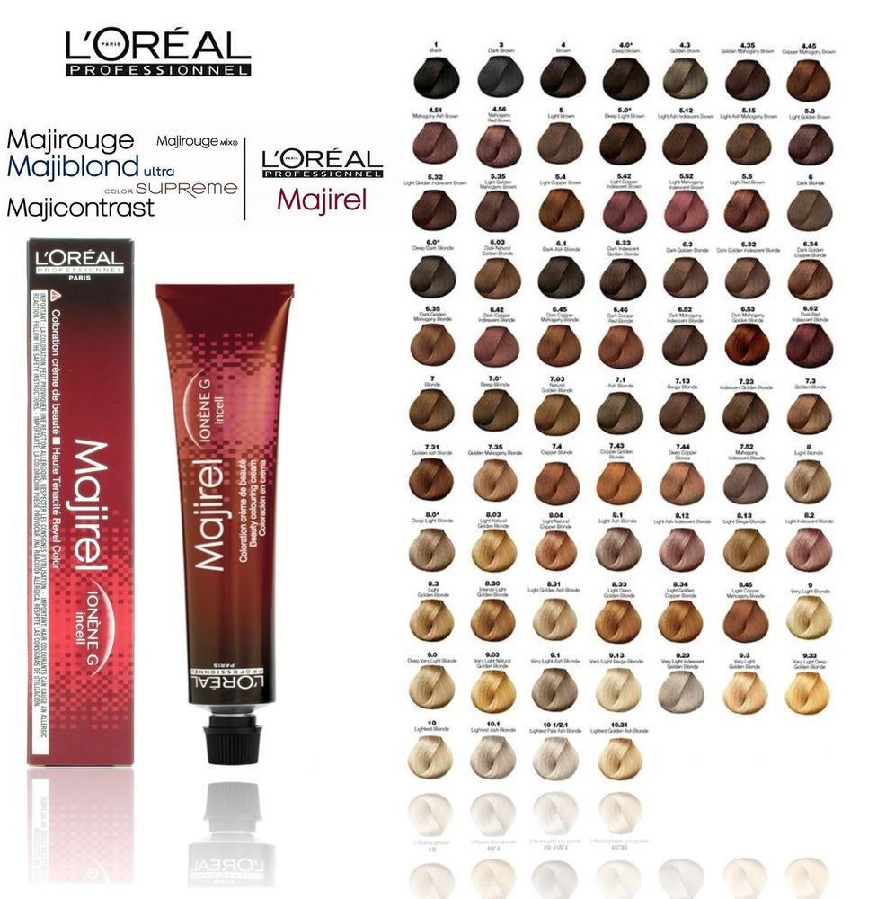 L Oreal Professional Majirel Majiblond Majirouge Hair Colour Loreal 50ml Health Beauty Hair Care Hair Color Chart Hair Color Number Chart Loreal Hair