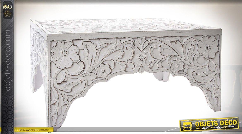 Table Basse Blanche Bois Sculpte Style Oriental Et Romantique A Motifs De Fleurs Table Basse Blanche Table Basse Bois Sculpte
