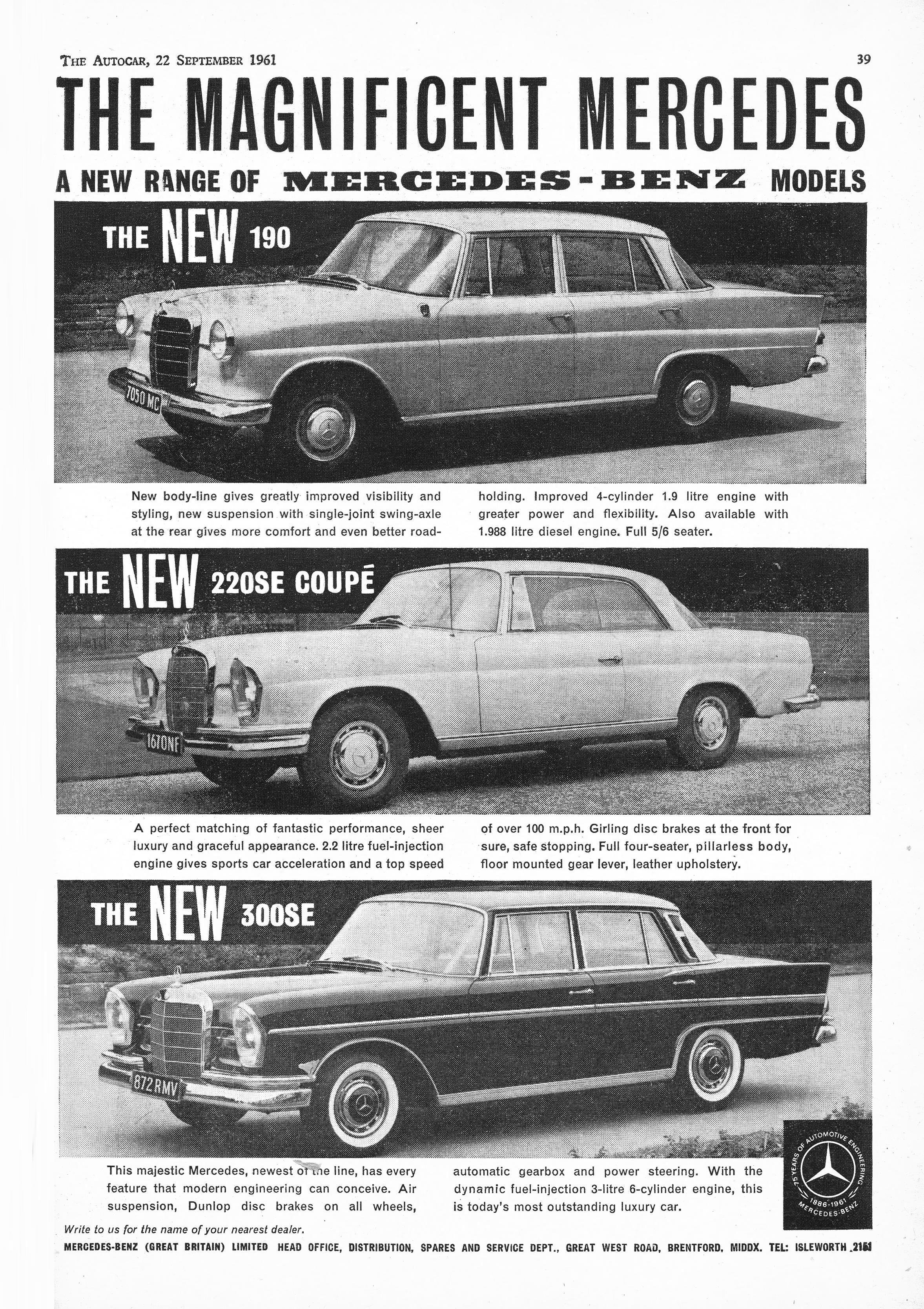 Mercedes Benz 220SE Car Motor Autocar Advert 1961