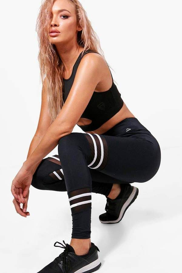 Fit Stripe High Waisted Running Leggings | boohoo -   18 fitness Photoshoot city ideas