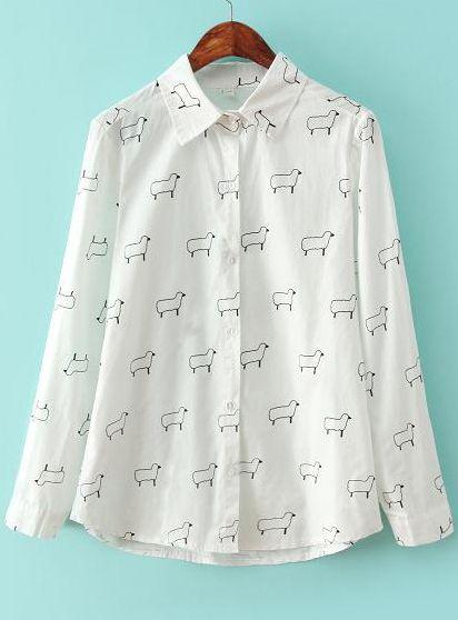 17b90f6bb09 White Lapel Long Sleeve Sheep Print Blouse 16.33 | in my closet, now ...