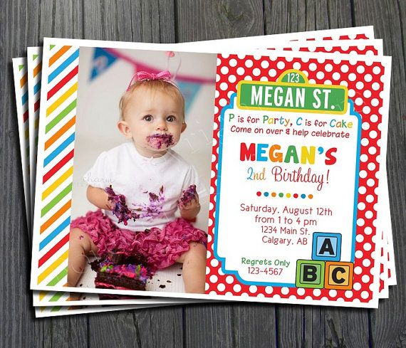Sesame Street Invitation  FREE Thank You Card by ForeverYourPrints, $15.00