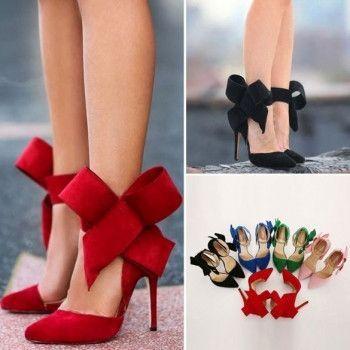Sexy Women Plus Size Big Bow Pointed High Heel Stilettos Shoes