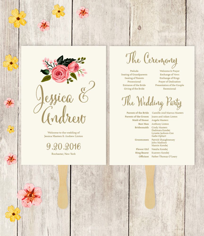 Wedding Program Fan Printable  Wedding Fan  Watercolor Flower