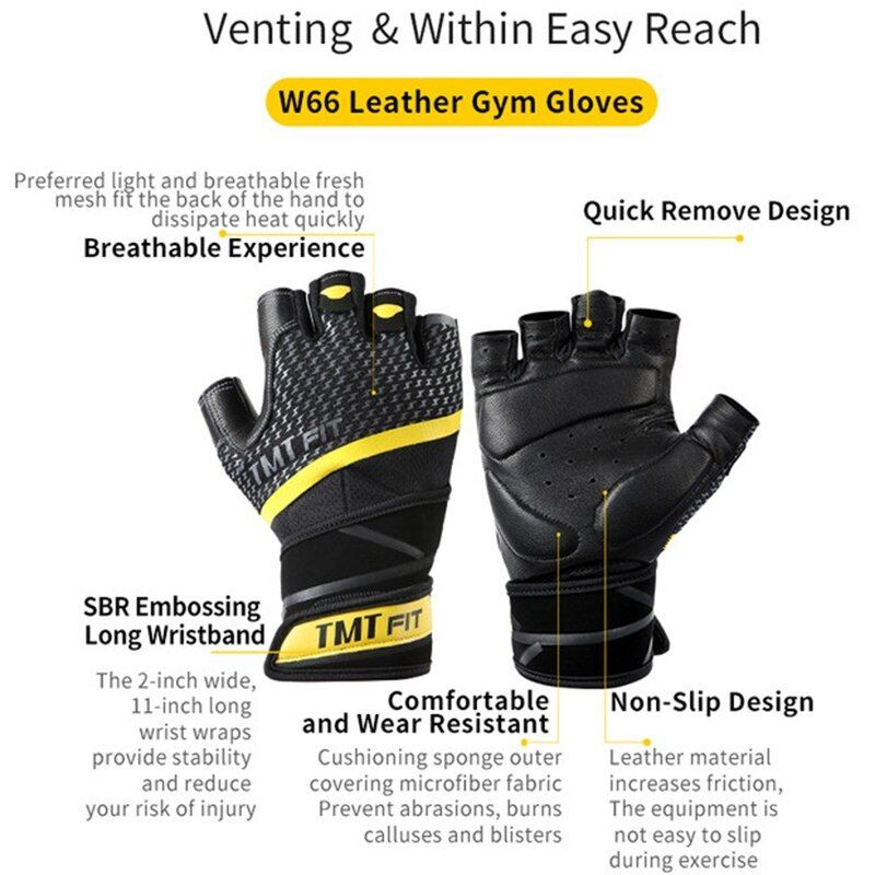Weight Lifting Gym Body Building Training Fitness Sports Long Wrist Wrap Gloves