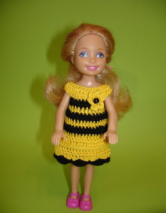 Hand crocheted Mattel Chelsea and Kelly Doll Clothes