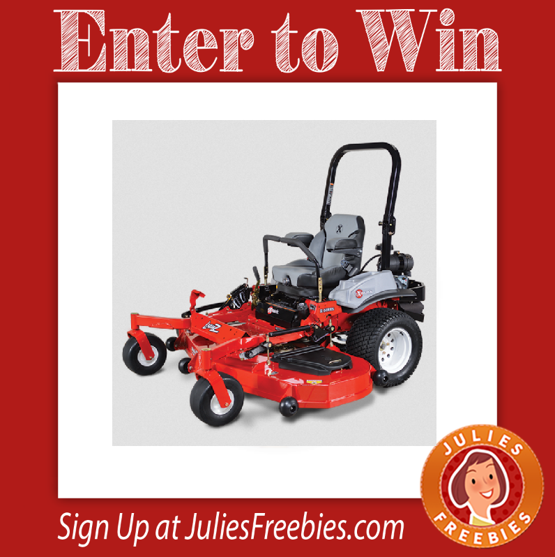 Facebook Twitter PinterestHere is an offer where you can enter to win an Exmark Lazer Z X-Series Ride-On Mower. PRIZES – 1 Grand Prize – Exmark Lazer Z X-Series Zero Turn Ride-On Mower. ENTRY – One Time Entry. ENDING – March 13, 2017. ENTER HERE