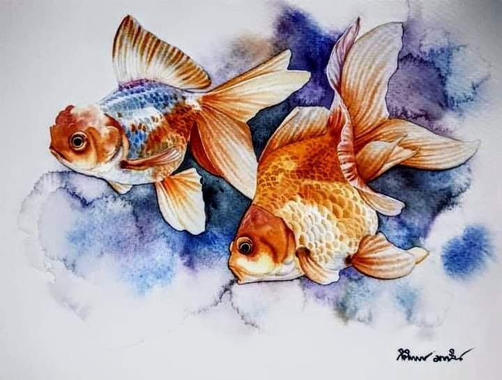 Pin By An Nhien On Pintar Watercolor Fish Watercolor Paintings Nature Art