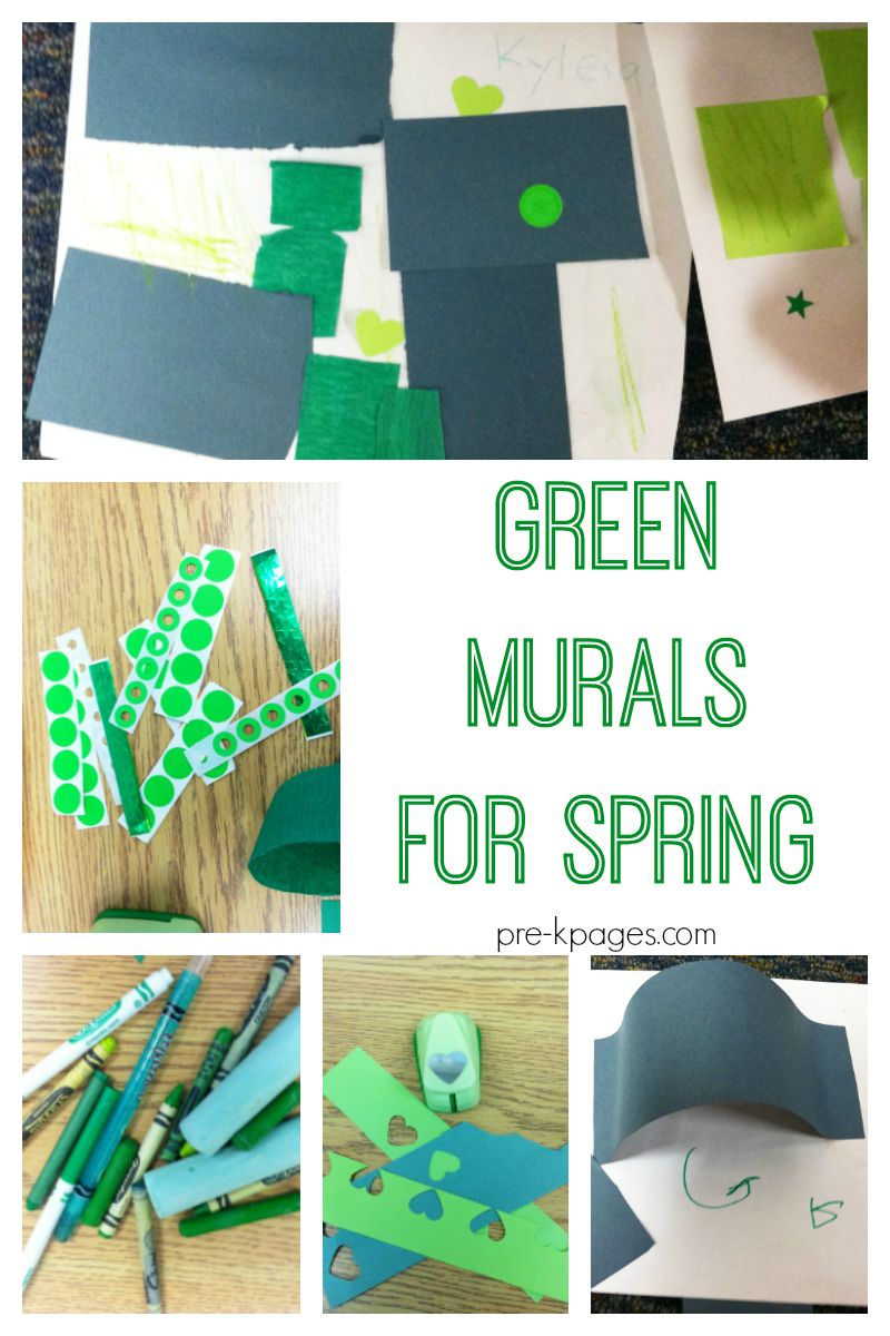 Green Murals for Spring | Green materials, Process art and ...