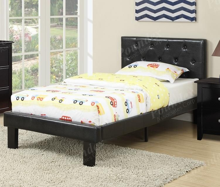 Full Bed Black Faux Leather By Poundex In 2019 Twin