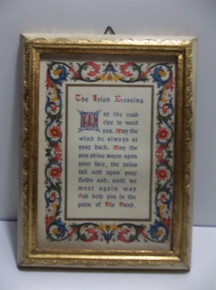 Vintage Italian Florentine Wall Plaque The Irish Blessing 7 Made In
