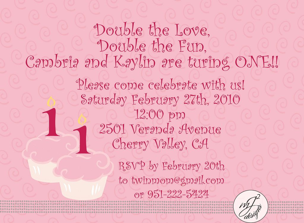 back of twin birthday invitation Twin 1st Birthday Pinterest