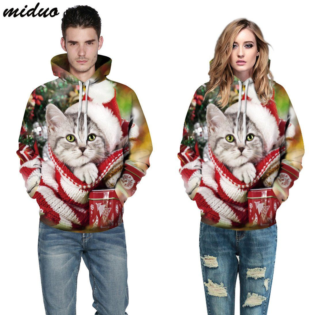 Men Women Funny Cat Kitty 3D Print Hoodie Sweatshirt Pullover Jumper Hooded Coat