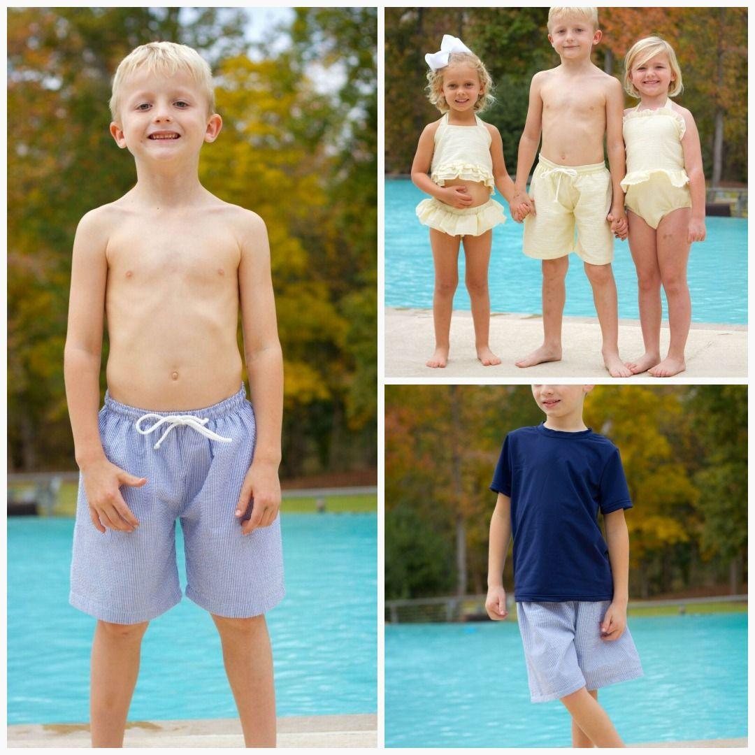 1da13a4528 Boys Seersucker Swim Trunks - 5 colors in 2019   Designs by April ...