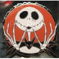 (IN COLLECTION) Pin 64034- Jack This round pin shows Jack with his bony hands and fingers up to his face. Black border around the orange background. What's this? This Deluxe Pin Trading Starter Set features characters from Tim Burton's The Nightmare Before Christmas and makes a perfect beginning or addition to your Disney pin trading collection. Pins in the set are: 64034, 64035, 64036 and 64037. DLR: 08/01/2008 SKU: 4 00014 61540 3 Original Price: $24.95/set
