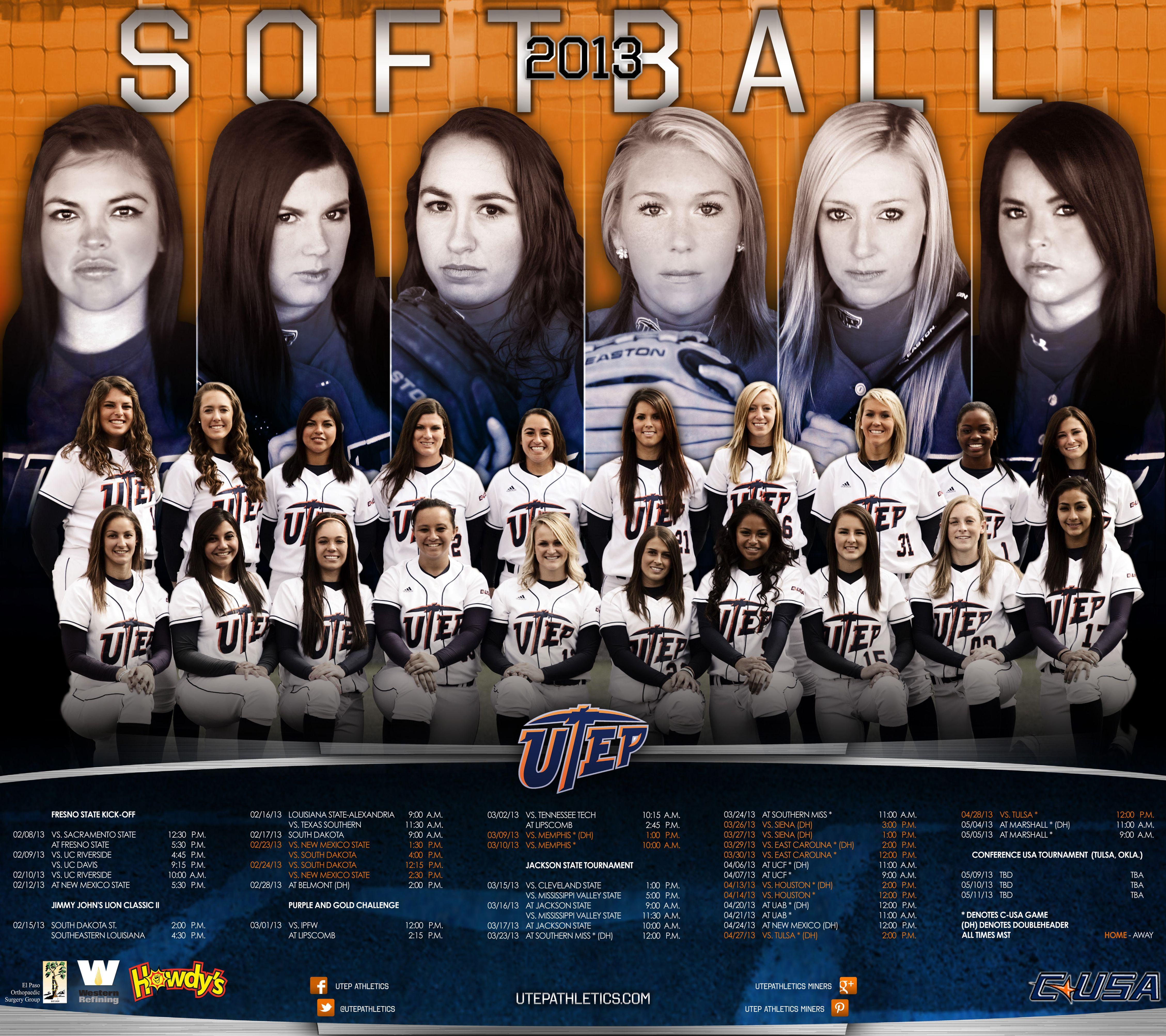 2013 Utep Softball Poster Softball Posters Baseball Posters Basketball Posters