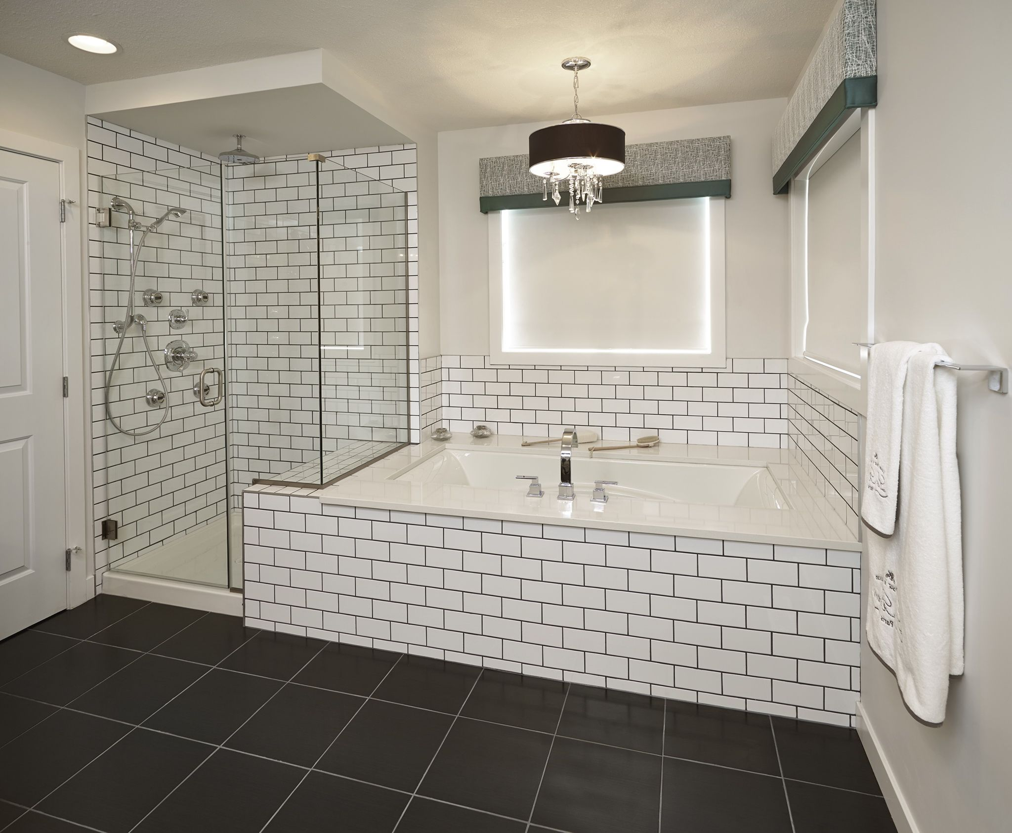 Subway Tile Bathroom Black Grout : Bathroom : Pinterest : Subway tile bathrooms, Tile bathrooms ...