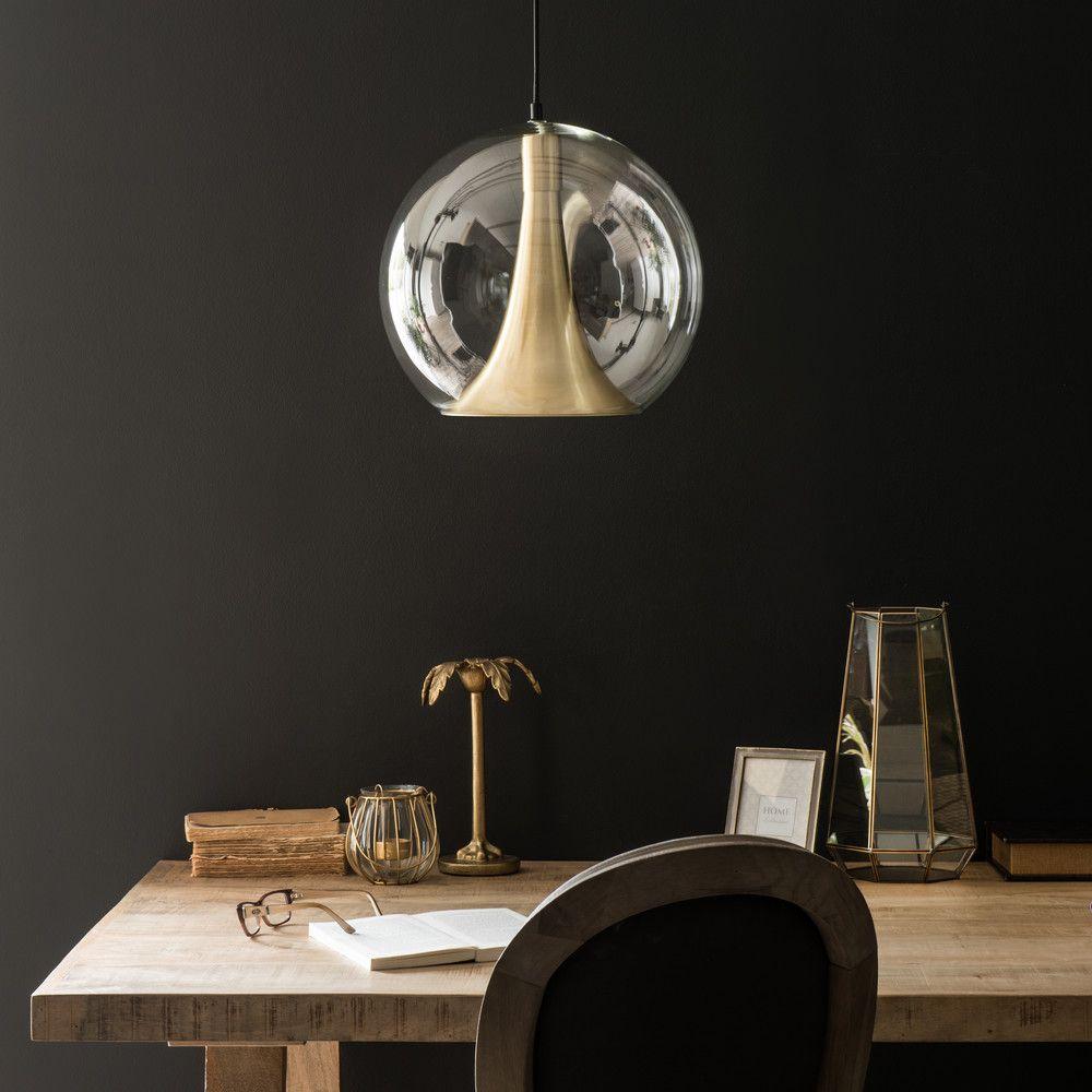 Suspension ronde en Metal Doré et Verre BURTON - Design chic et