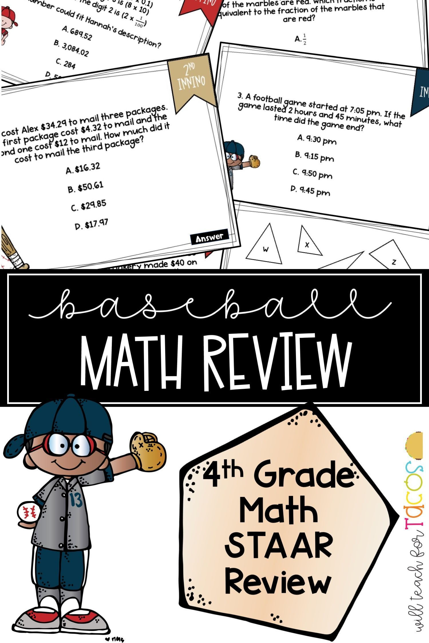 Staar Baseball 4th Grade Math Review