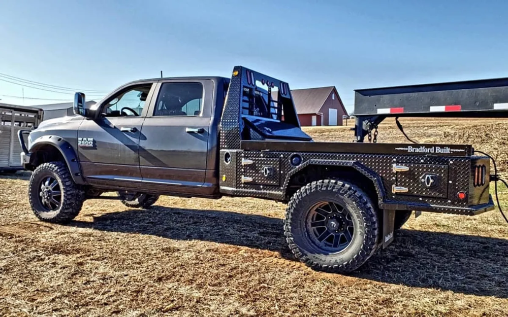 Bradford Built 4 Box Utility Beds Standard Features Include Powder Coated Black For A Good Shine And An Easy To Truck Bed Flatbed Truck Beds Welding Trucks