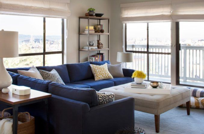 San Francisco Best Sectional Sofa With Solid Color Decorative Pillows  Living Room Contemporary And Blue Yellow