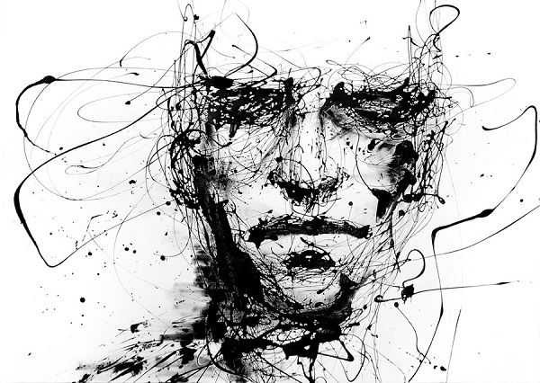 Italian artist agnes cecile aka silvia pelissero creates visually striking black and white portraits by dripping paint on blank canvases visua