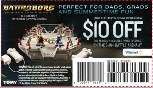 $10 off Battroborg at Walmart. Expires 7/31/14