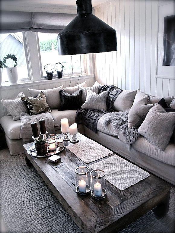 Stylish Grey White Black Living Room Gray