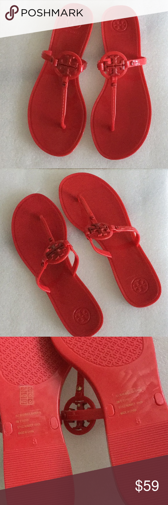 683c15a8b22e TORY BURCH MINI MILLER NEW! Sleek and simple thong sandals in Brilliant Red.  Tory