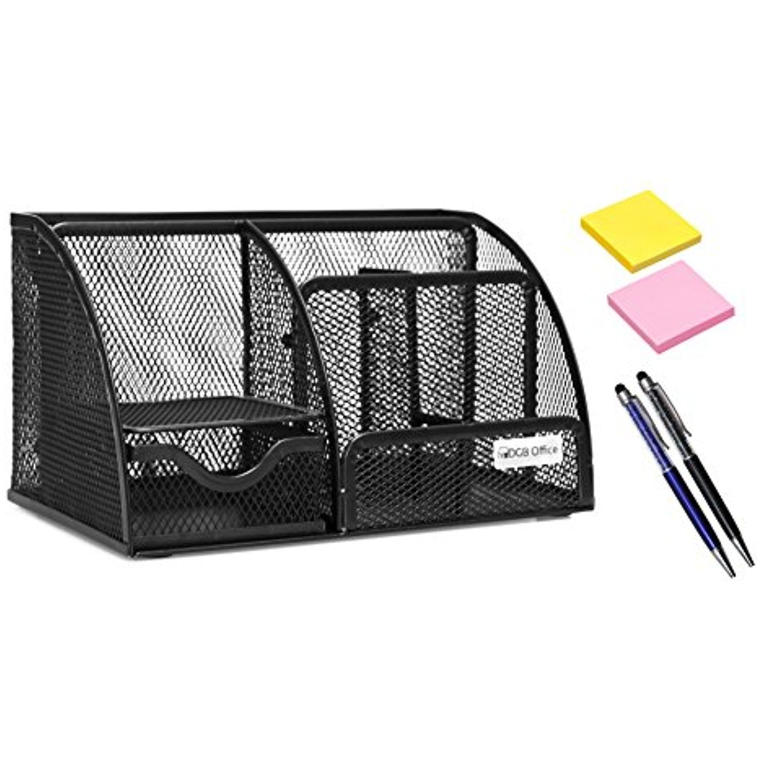 Office Desk Supplies Organizer - Caddy Mesh 6 Compartment with ...