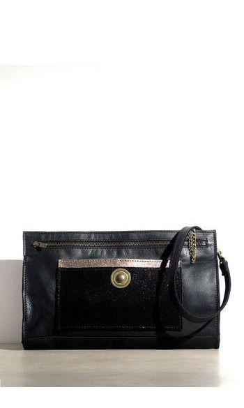 285a951c83d59 Pochette Saturne cuir noir   Bag