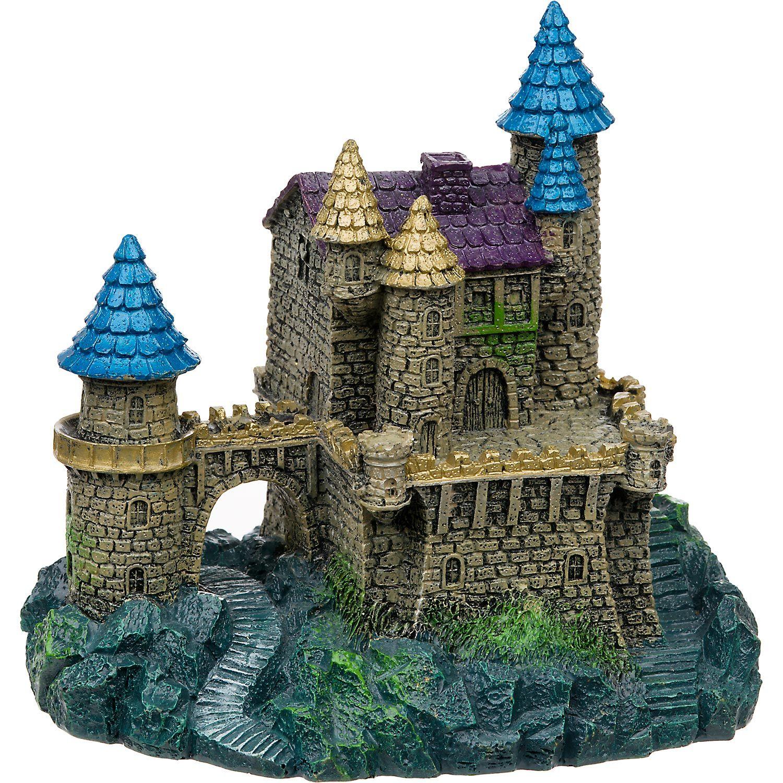 blue ribbon purple blue roof castle aquarium ornament - Blue Castle Decor